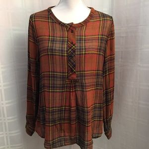 Soft Surroundings Teagan Top Brown Plaid Shirt